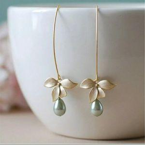 Orchid Faux Pearl Earrings
